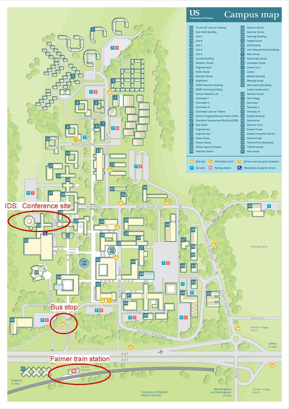 sussex university falmer map